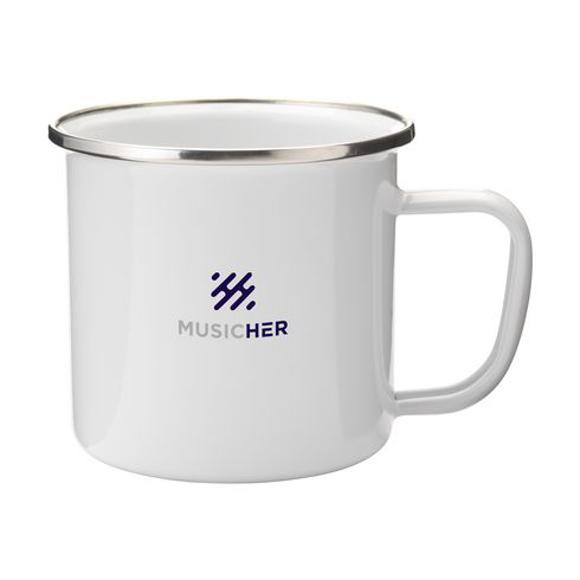 Enamelled mug white