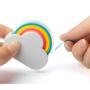 Rainbow memo dispenser in use
