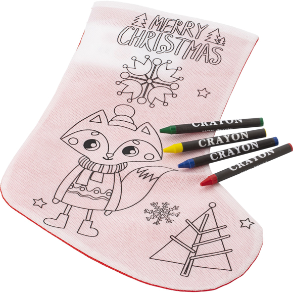 Christmas stocking with crayons